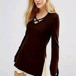 Free People Crisscross Tunic Sweater Black